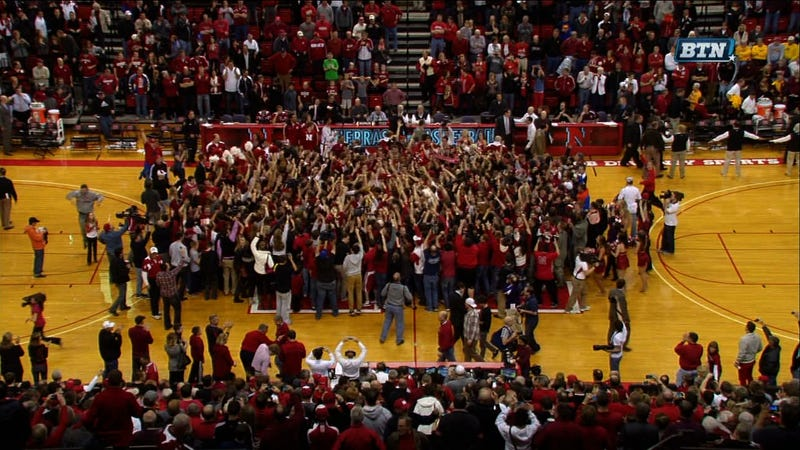 Nebraska Stormed The Court After Beating Unranked Minnesota