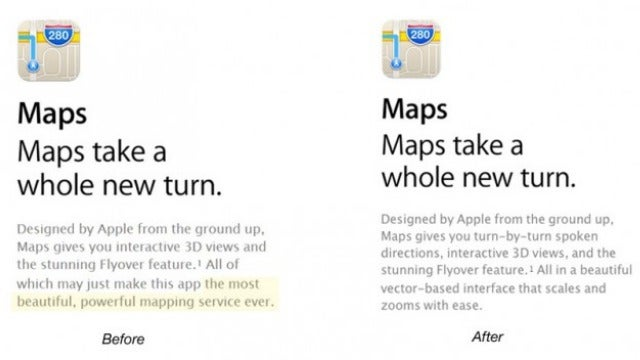 "Apple Stops Calling Its Maps ""The Most Powerful"""