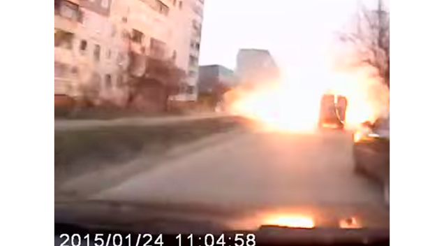 Dashcam Video Appears to Show Terrifying Rocket Attack in Mariupol