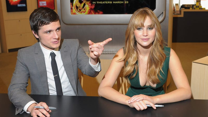 Josh Hutcherson Points the Way to Jennifer Lawrence