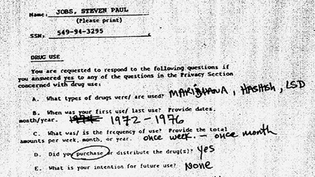 Steve Jobs' Pentagon File: Blackmail Fears, Youthful Arrest and LSD Cubes