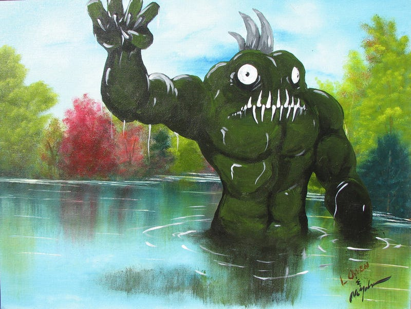 Painter adds giant monsters to drab yard sale landscape paintings