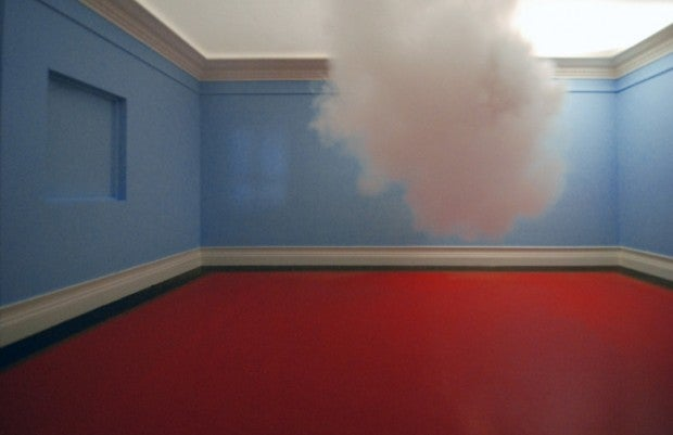 Artist suspends real clouds in the middle of the room