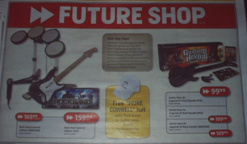 Weird Combo of the Day: More Cowbell Hat With Purchase of Rock Band or Guitar Hero III