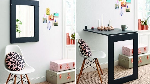 This DIY Desk Saves Space, Folds Up Into a Wall Mirror When Not In Use