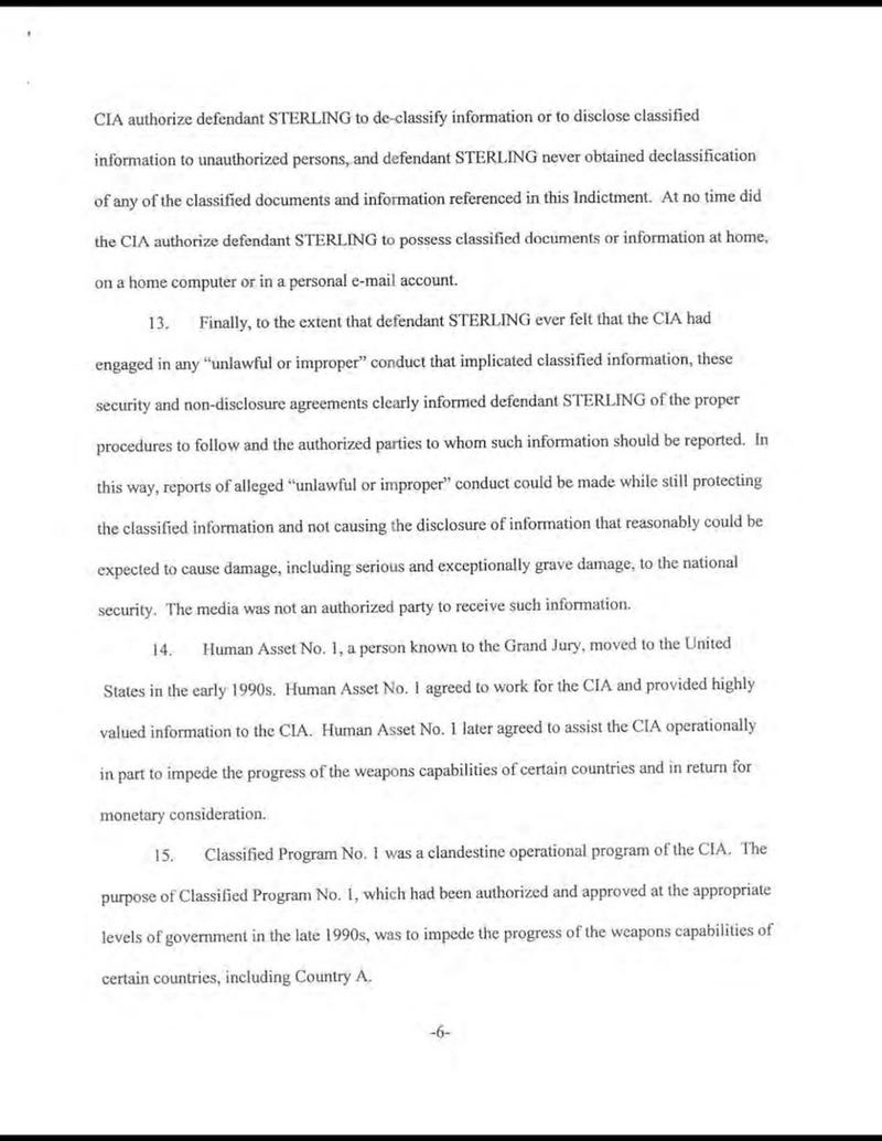 Indictment of Former CIA Officer Jeffrey Sterling