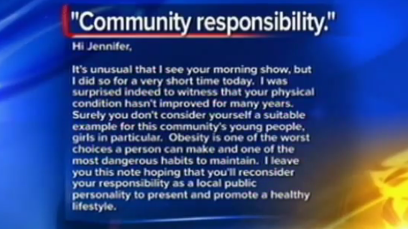 Asshole Who Called Local News Anchor Fat Still Thinks She's Too Fat