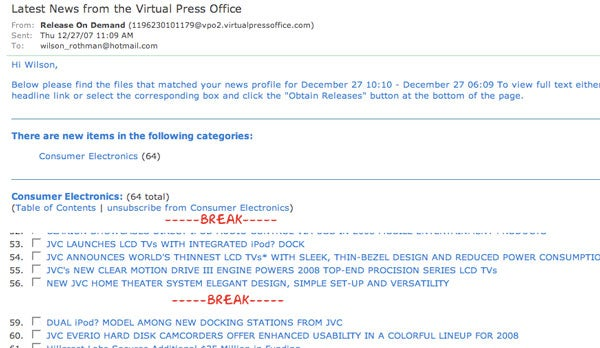 Virtual Press Office Leaks JVC Dual-iPod Dock, World's Thinnest LCDs and More CES Announcements