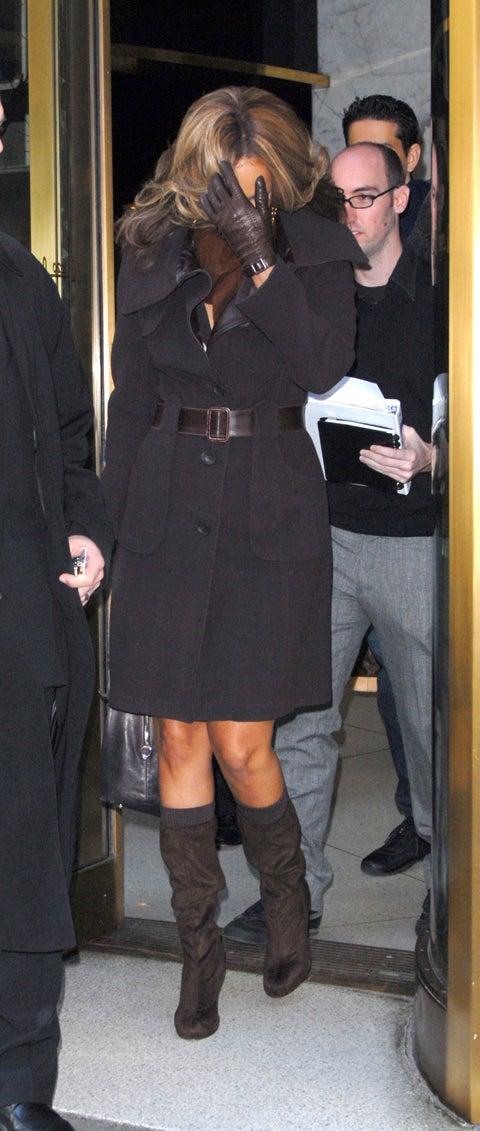 Tyra Banks Wears Brown, Looks Down