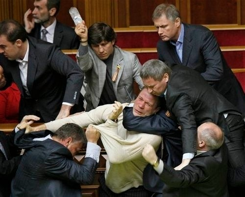 Egg-Throwing Brawl Erupts in Ukranian Parliament