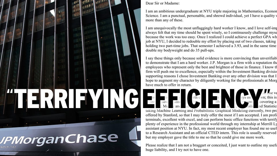 funny cover letter investment banking platinum class