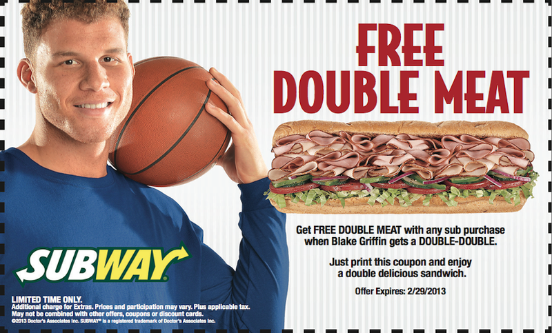 Here, Have This Blake Griffin Subway Coupon That Expires Feb. 29