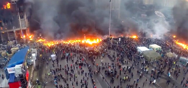 Incredible drone video shows Ukraine's riot battlefield from above