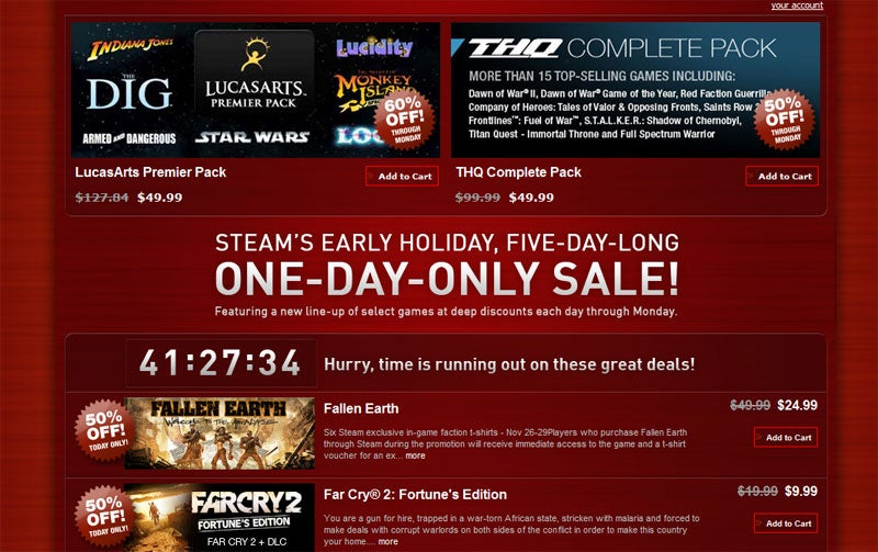 Steam Launches 5-Day 1-Day Holiday Sale
