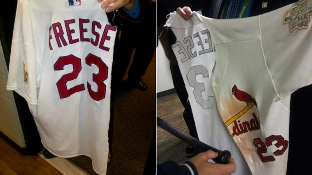 This Is All That Was Left Of David Freese's Jersey After His Bobbysoxer Teammates Got To Him