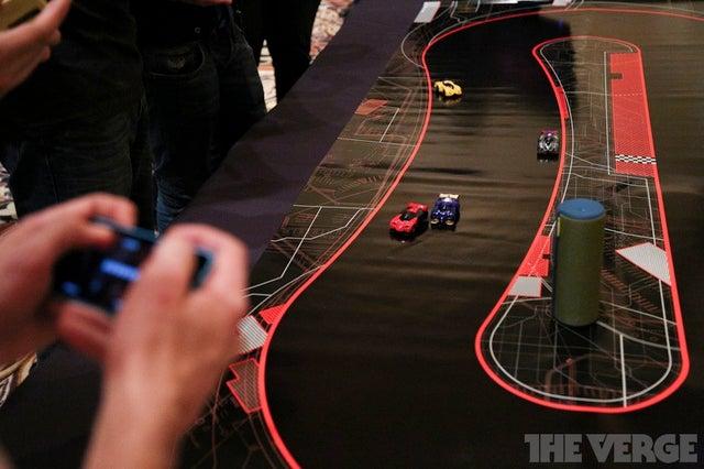 Robot car racing, in minature