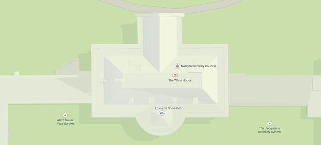 """Google Maps Currently Shows """"Edwards Snow Den"""" Shop at the White House"""
