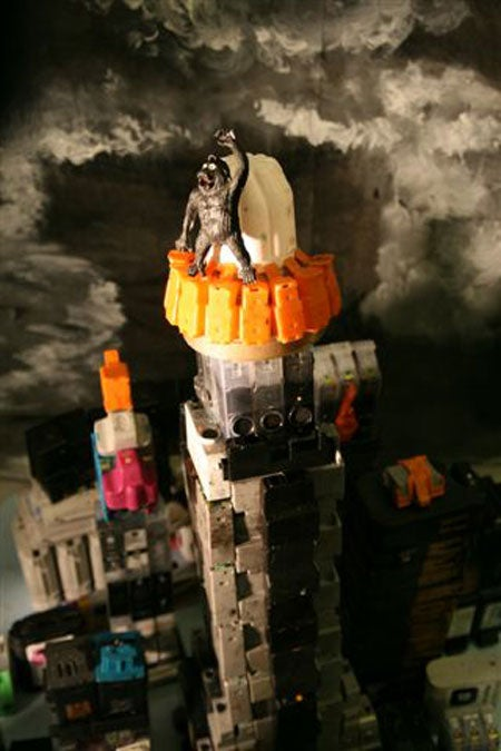 Science fiction dioramas created using recycled ink cartridges