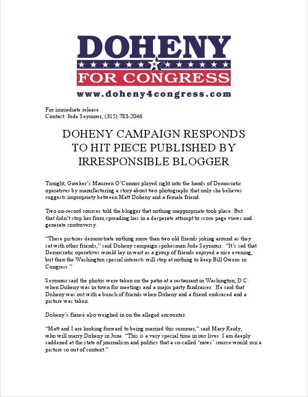 Matt Doheny, 'Strongest GOP Challenger in Country,' Sucks Face with Campaign Consultant Who Is Not His Fiancée (UPDATE)