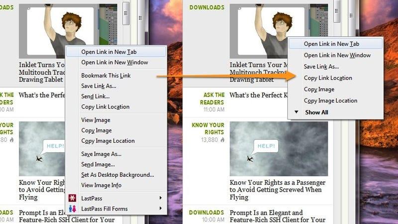 FfChrome Slims Down Firefox's Huge Context Menus