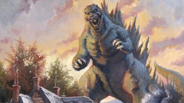 Godzilla takes on his most colorful foe — Thomas Kinkade, Painter of Light