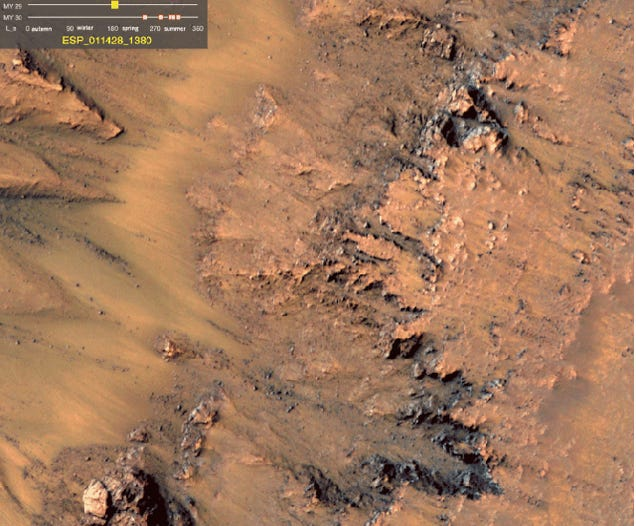 Are these pictures of water flowing on Mars, right now?