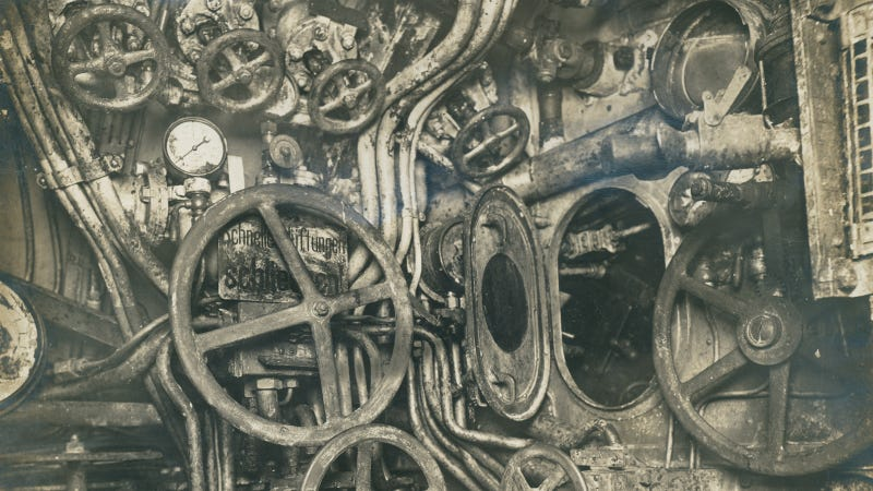The Control Room of a German Submarine from 1918