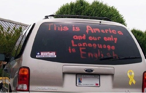 "Minutemen-Stickered Georgia Minivan Urges Learning English ""Lanaguage"""