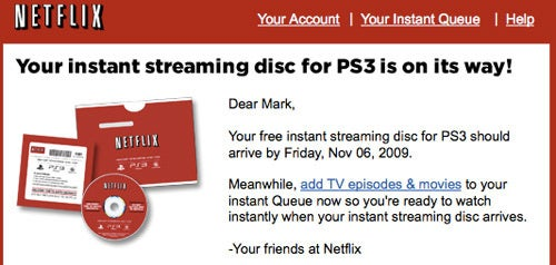 Netflix Shipping PS3 Instant Streaming Discs