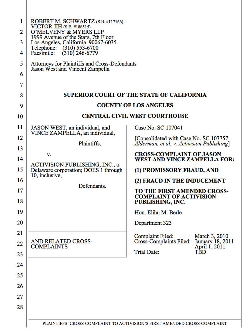 West And Zampella vs. Activision Cross-Complaint