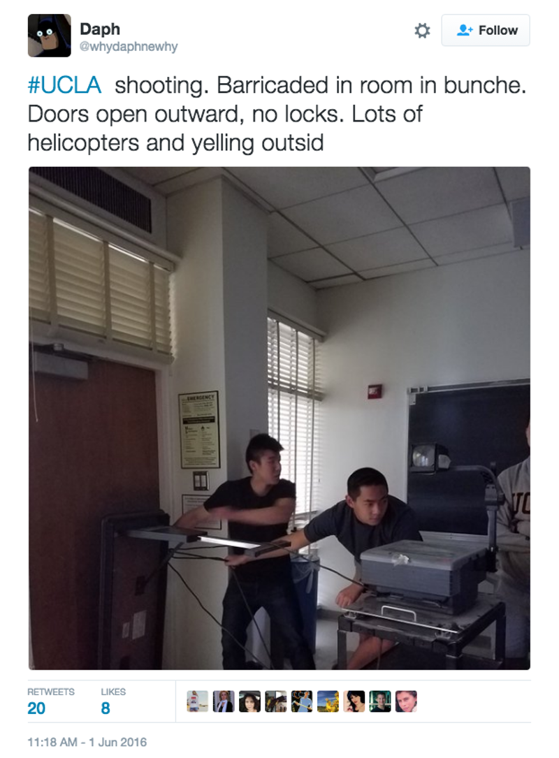 UCLA Students on Active Shooter Lockdown Are Engineering the Hell Out of Doors Without Locks
