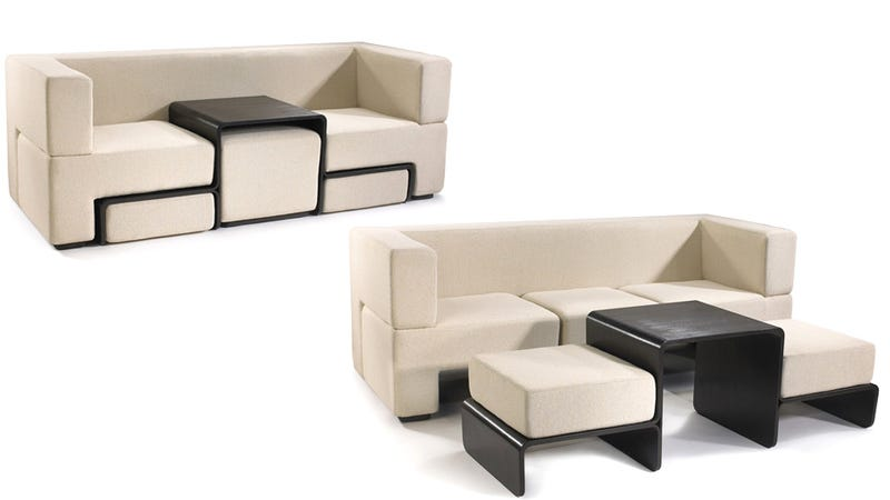 Slot Sofa Hides a Coffee Table and Matching Foot Rests