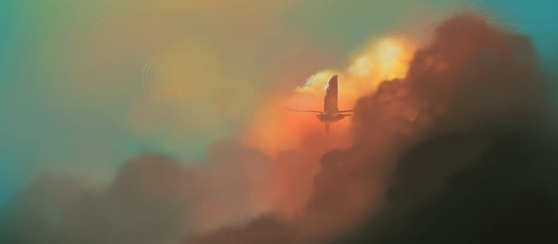 An airship emerges from the reddish clouds of dawn