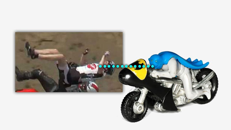 Bizzarre Motorcycle-Bicycle Wreck Makes People Look Like Toys
