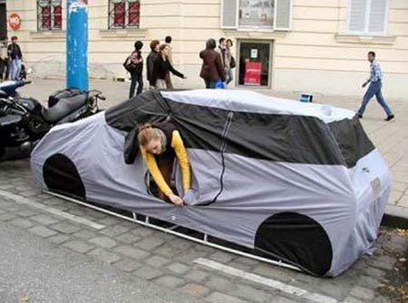 Car Tent Makes Willful Homelessness Seem Like Some Creative Choice