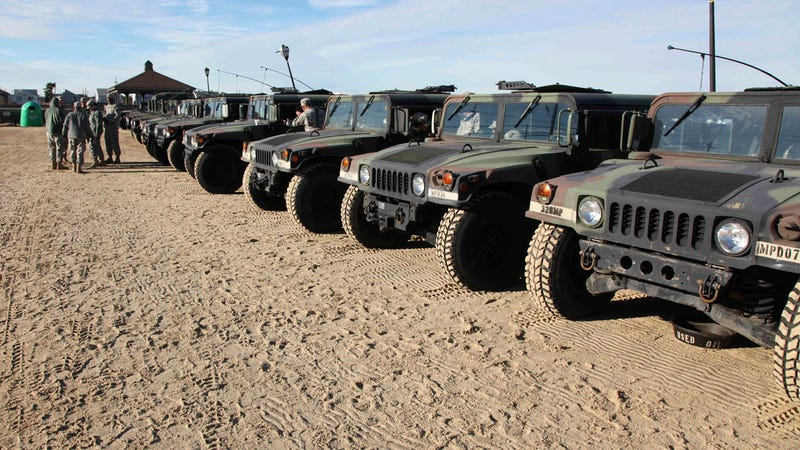 National Guard Humvees Line Up for Deployment