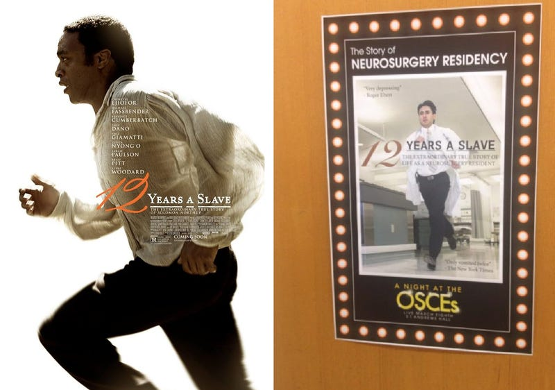 Med School Compared To 12 Years A Slave In College Fundraising Poster