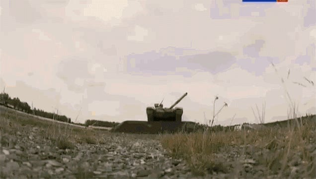 Watch This Russian Tank Fire Its Main Gun While Jumping