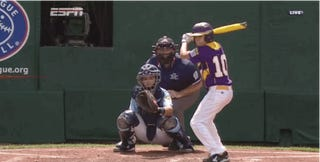Little Leaguer Fooled By Nasty Curveball Almost Falls On His Ass