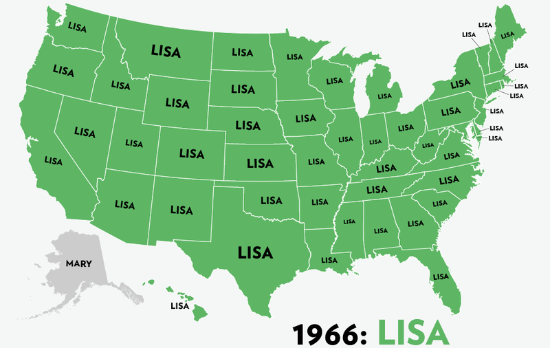 Map: Six Decades of the Most Popular Names for Girls, State-by-State