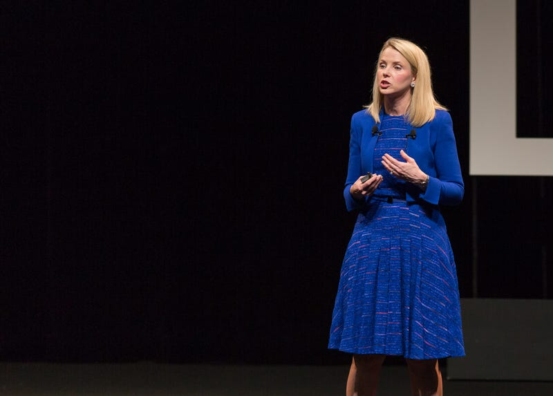Marissa Mayer Got Awkward with Art Props On Stage At Cannes