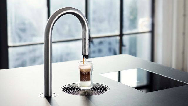 Iphone controlled minimalist coffee maker hides all the hardware under