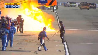 NASCAR Crew Member Caught In Middle Of Giant Fireball