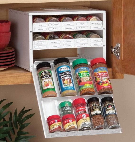 The Spice Stack Rack Efficiently Stores Spices in Your Kitchen Cupboards