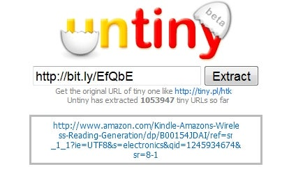 Untiny Reveals Shortened URL Destinations