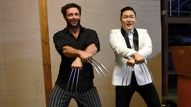 Hugh Jackman (as Wolverine) doing Gangnam Style with Psy (who has Adamantium claws)