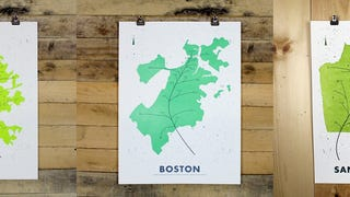 Maps of Cities Transformed Into Leaves