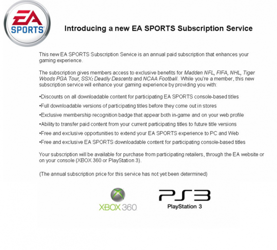 Paid Subscription Would Offer Early Downloads, Free DLC, For EA Sports Titles