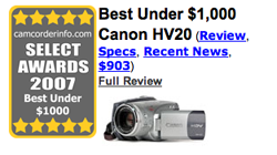 CamcorderInfo Picks Canon HV20 As Best Camcorder of 2007