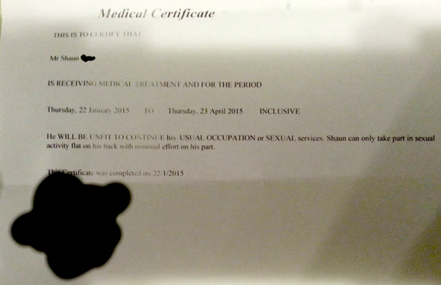 Dude Gets a Doctor's Note to Avoid Strenuous Work During Sex